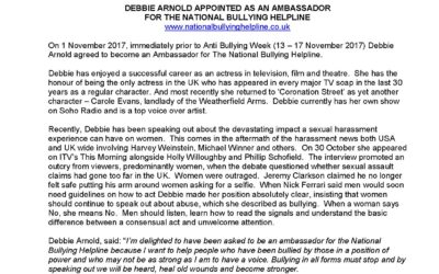 Debbie Arnold Appointed as an Ambassador for the National Bullying Helpline