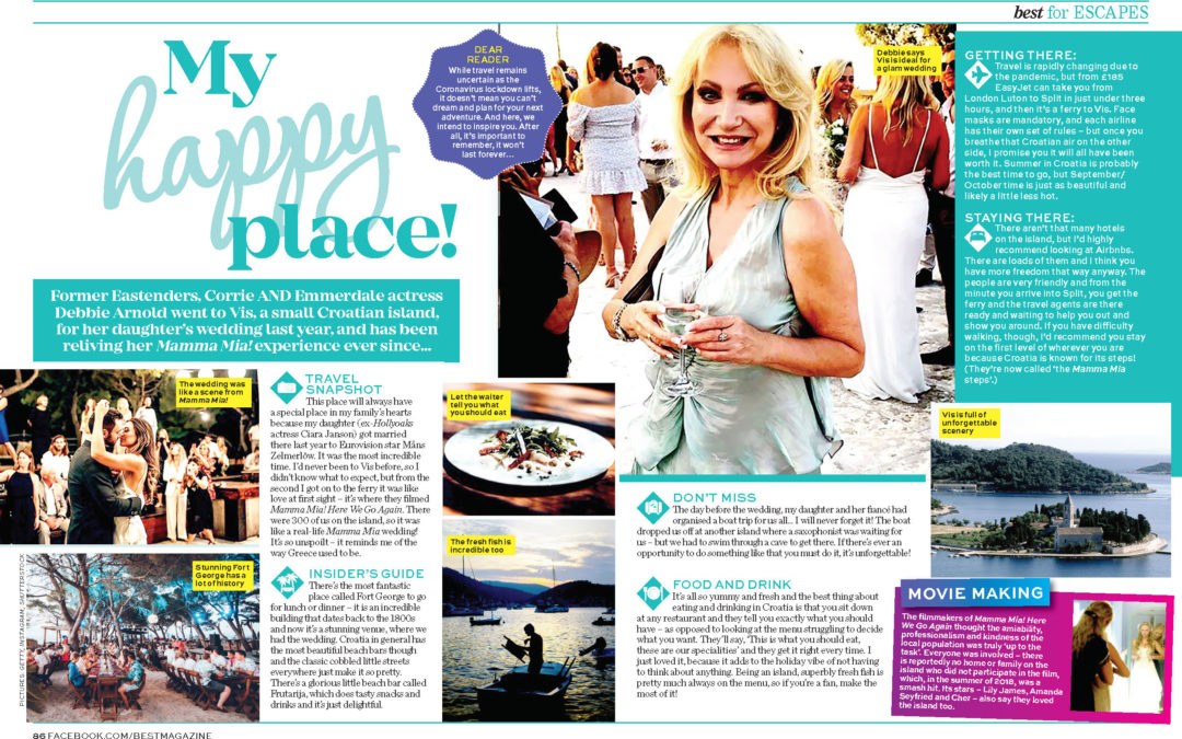 My Happy Place, Best Magazine – Debbie visits Vis for her daughter's wedding